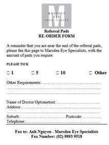 Referral Pads Order Form